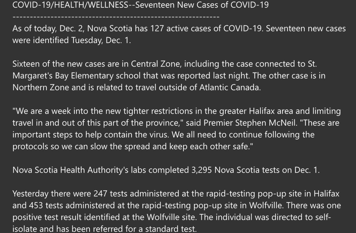 17 new COVID cases in Nova Scotia, including the St. Margs Bay school case reported last night. https://t.co/9zXON5LxRf