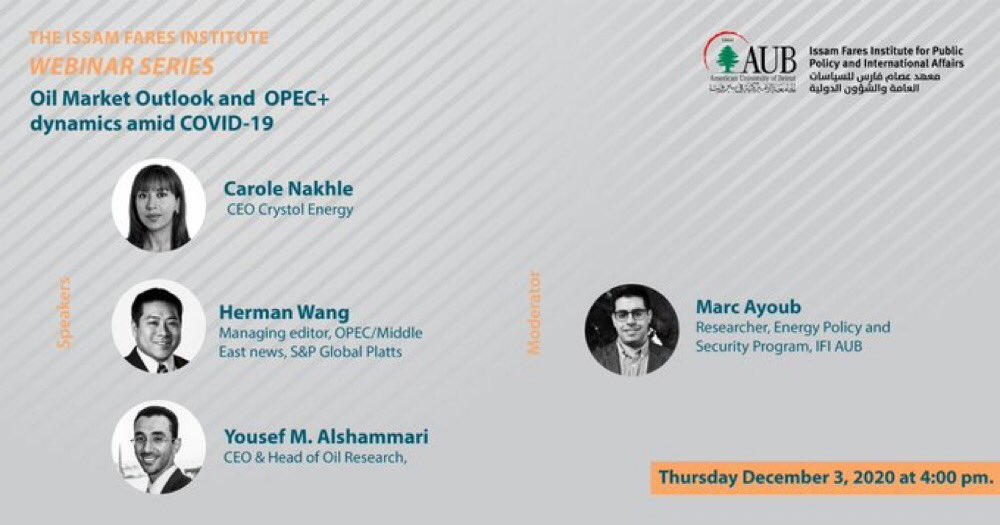 It's tomorrow LIVE - 4:00 pm @ifi_aub ! @carole_nakhle will be joining @HermsTheWord & @YAlshammari to discuss oil markets outlook, #Opec+ dynamics, during #Covid19 times. Session moderated by @Marc_Ayoub  FB Event:    Registration: