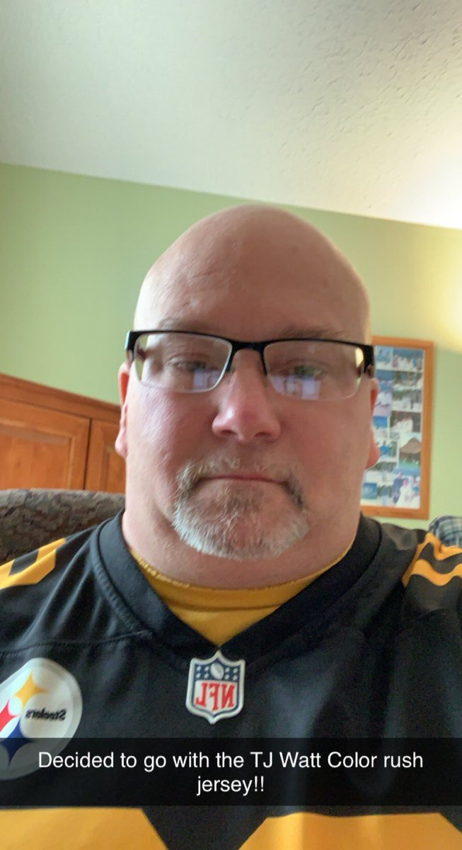 I've decided to go with the color rush jersey for today. If it had been unanimous for the traditional I would have gone that way. One thing I left out is that I have been wearing the same gold t-shirt under my jersey each week (which I have on today). #gosteelers #herewego