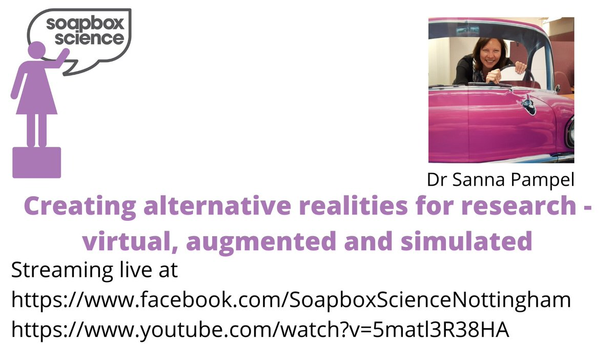 @SannaPampel on #virtual #augmented and #simulated realities @SoapboxScience #Nottingham, streaming live at  and  . #WomenInSTEM #WomenInScience