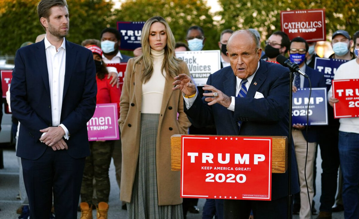 "CAPTION FOR THIS PHOTO :  ""@EricTrump stands mesmerized as #RudyGiuliani shows him how he can move Trump ballots using the Dark Side of the Force""  @realDonaldTrump #wednesdaythought #McRibIsBack"