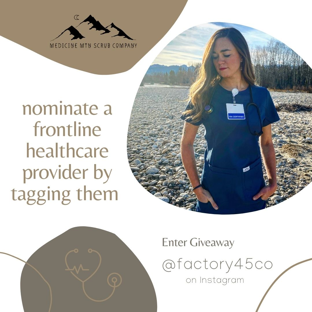 Giveaway over on #instagram! Head over to our IG page and nominate a woman in medicine for a free pair of our new scrubs.  Let's uplift each other! Find us on IG @medicinemtnscrubs.  #FrontLineHeroes #FrontlineWorkers #scrublife #scrubs #WomenInMedicine #nurse #HealthcareHeroes