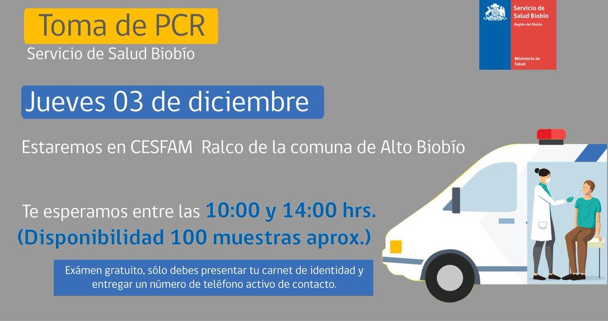 Atención📍 comuna de Alto Biobío, mañana 3 de diciembre se realizará Búsqueda Activa Covid 19 en Cesfam Ralco. Es gratuito, sólo se debe presentar carnet de identidad.  #PCR #COVID19 #BAC #ProvinciaBiobío
