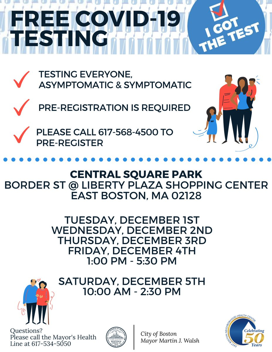 If you were at a holiday party or gathering and want to get tested for #COVID19, we have mobile testing sites this week in #EastBoston, #JamaicaPlain, and #Roxbury.  Testing is free and available to everyone at these sites, regardless of insurance: https://t.co/J4OakgojUM https://t.co/DW0zGC1VJV