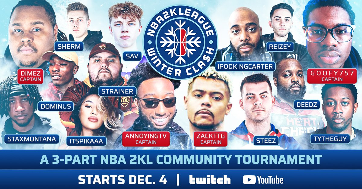 🚨 THE NBA 2K LEAGUE WINTER CLA$H LINEUP 🚨  Stay tuned for more names to drop soon! 👀  Watch the action LIVE on Twitch and YouTube starting Friday at 7pm/et. #2KLWinterClash https://t.co/hg6OXituCR