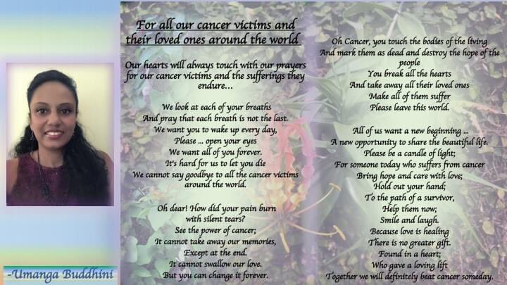 Updated my poem... For all our cancer victims and their loved ones around the world...  #poems|#poetry|#poetrylovers|#poets|#poetrywriting|#poetrycommunity|#creativewriting|#poem|#writers|#Writer|#thoughts|#creative|#cancerfighter|#Cancer