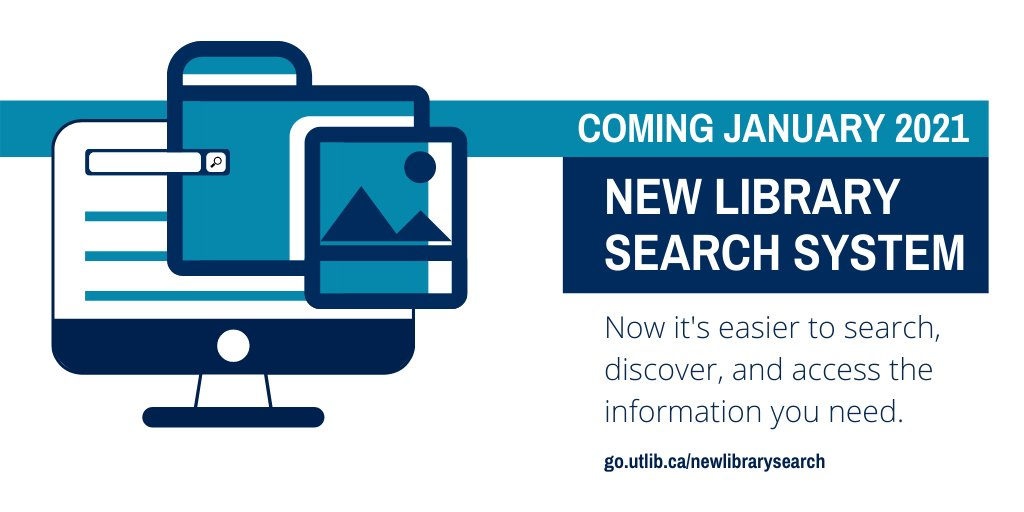 📣 The #UofT Libraries search system is getting a major upgrade on Jan. 7, 2021! Our new LibrarySearch will connect you with our highly-rated and diverse electronic and print sources through improved search capabilities. 💪📚 Learn about LibrarySearch 👇