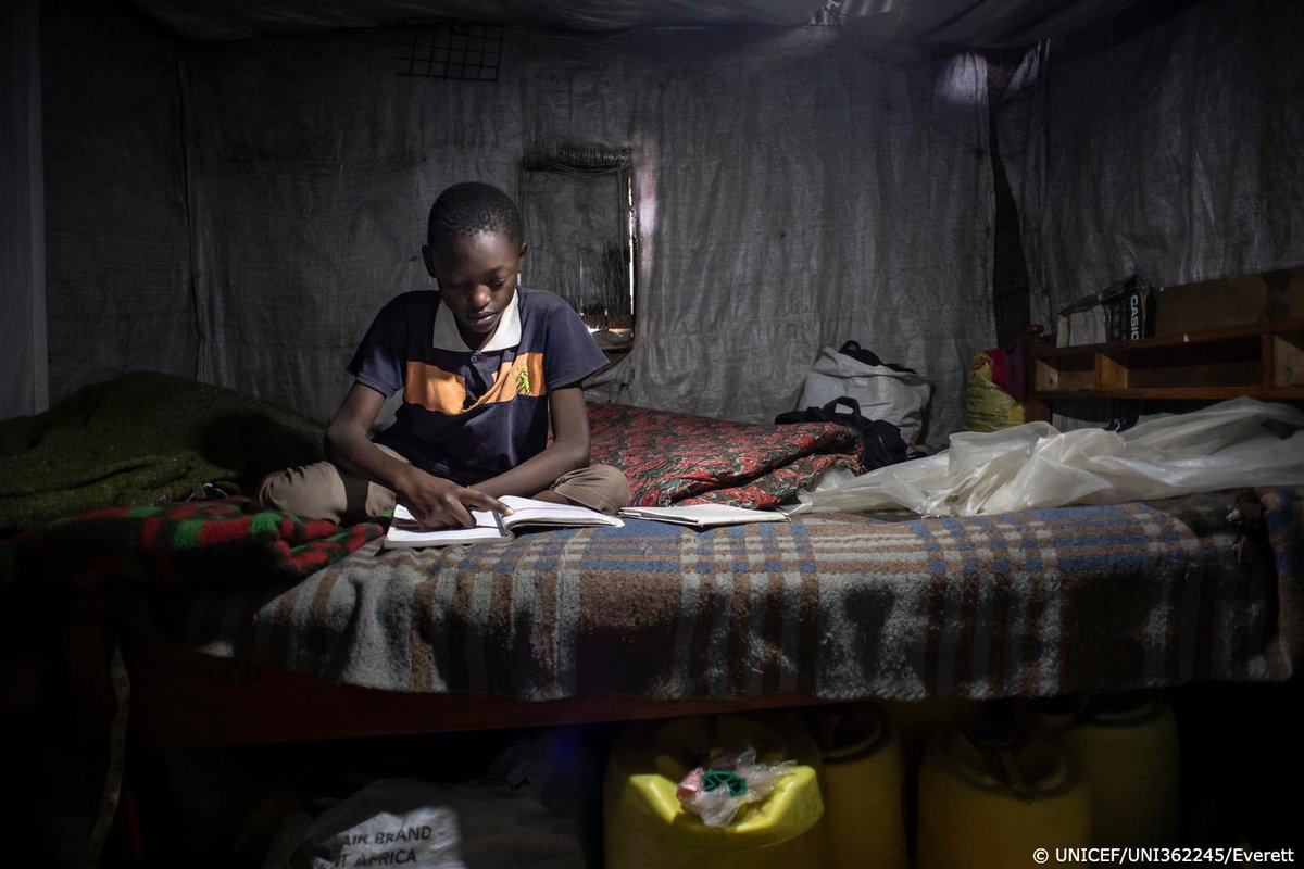Rafael, 11, is doing his best to study at home in Kenya, but he cannot participate in online learning as he doesn't have access to the internet or a computer.  UNICEF is working with partners to bridge the digital divide and reimagine education #ForEveryChild and young person.