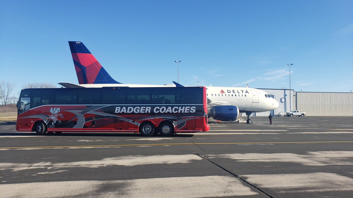 Always a pleasure to send off the @UWBadgers. This time its the @BadgerMHockey on their way to Columbus, OH. Good luck and go bucky! We appreciate @WisAviation and their excellent charter service!   #Badgers #OnWisconsin #FlyLocal #MSNAirport