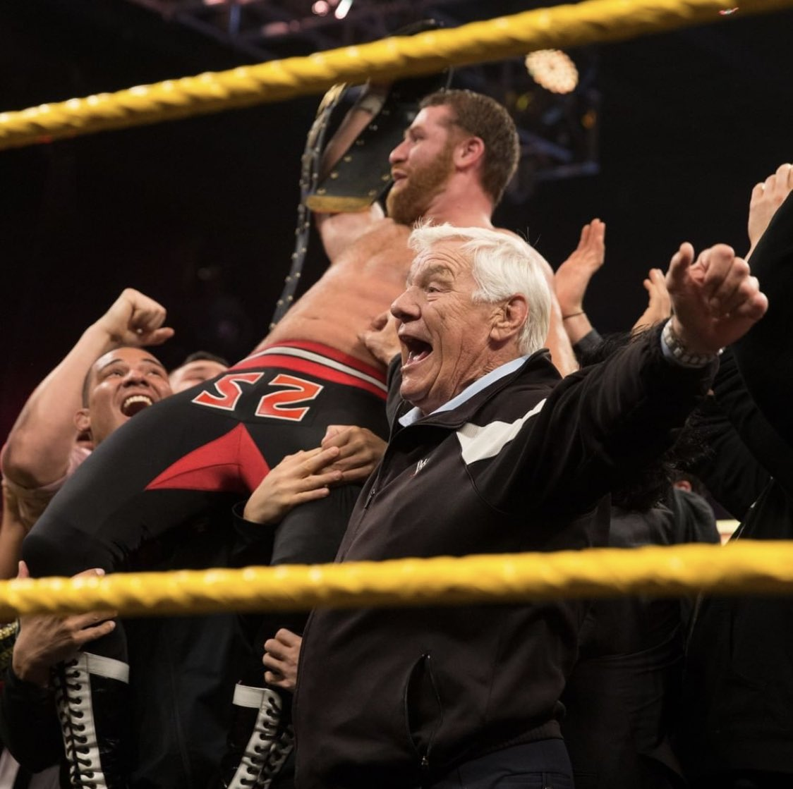 """When I won the NXT Title, Pat was so proud & so happy, he HAD to be there to celebrate with me. If you watch it now it's so funny, all the NXT kids...and Pat Patterson. He's the happiest one there. They told him """"Pat you can't go out there"""" and he said,  """"TRY AND FUCKING STOP ME"""""""