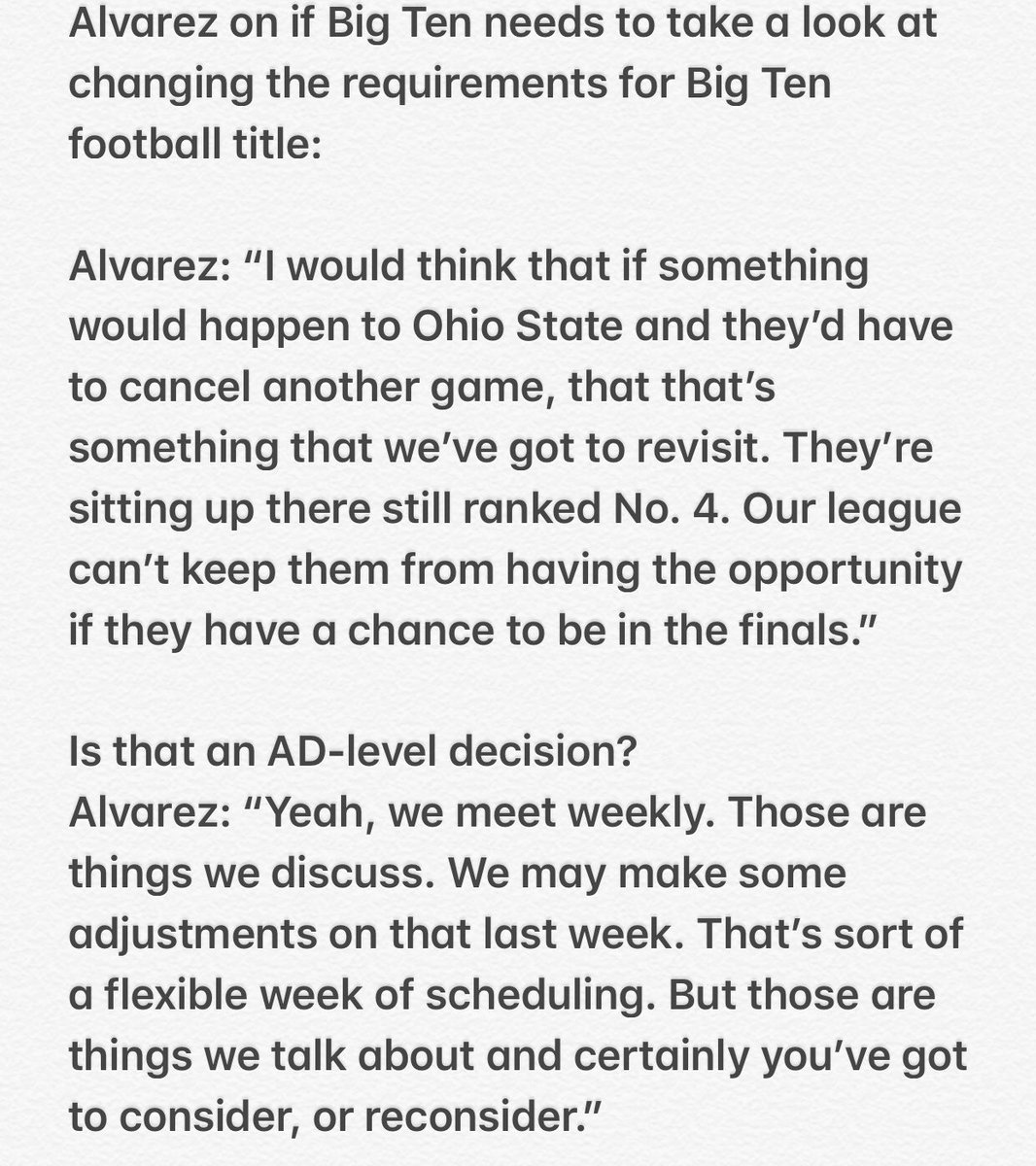 Wisconsin AD Barry Alvarez, who chaired the Big Ten's return-to-play task force, had interesting comments today about Big Ten possibly having to reconsider its requirements for championship (with OSU in mind) From a conversation w The Detroit News today....