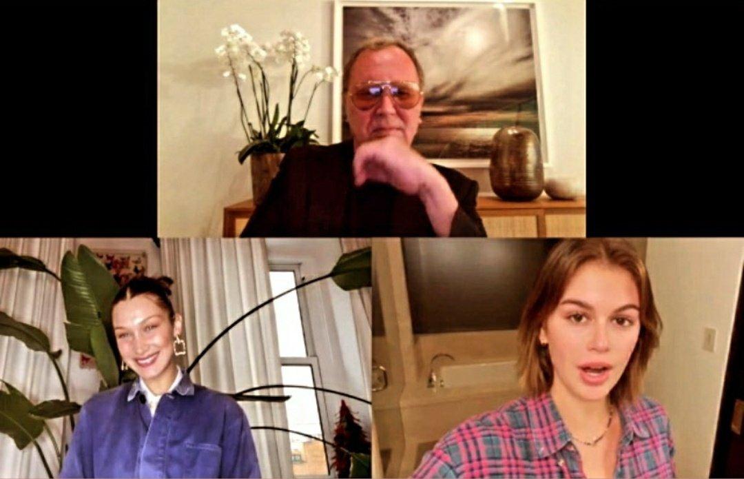 📲Bella Hadid con Michael Kors y Kaia Gerber en el evento virtual #GoldenHeartAwards ayer!