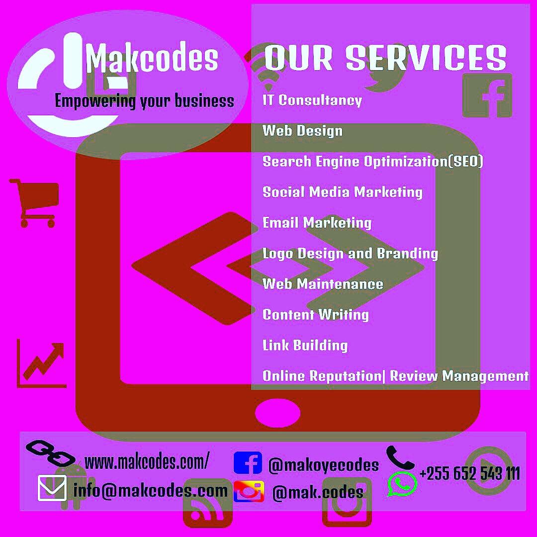 Contact US:  Email: info@makcodes.com   Call/WhatsApp:                      +255 652 543 111.                                  Vist our Web for more :          #WebsiteDesign #Appdevelopers #SocialMediaMarketing #ITConsultant #DigitalMarketing