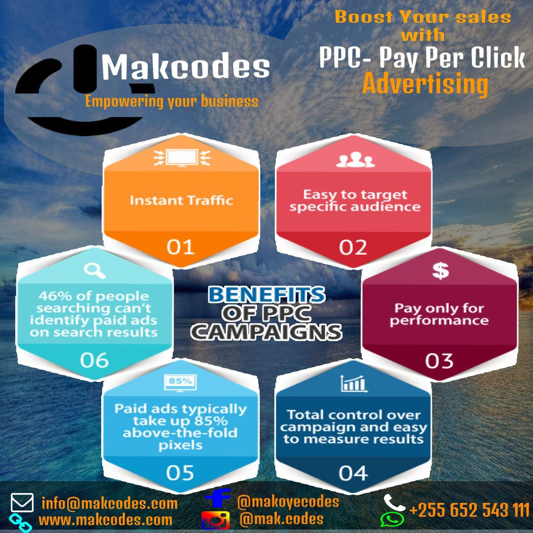Boost Your Sales with Pay Per Click Ads.             -Contact US:  Email: info@makcodes.com WhatsApp: +255 652 543 111 Vist our Web for more :          #WebsiteDesign #SocialMediaMarketing #DigitalMarketing #LogoDesigners