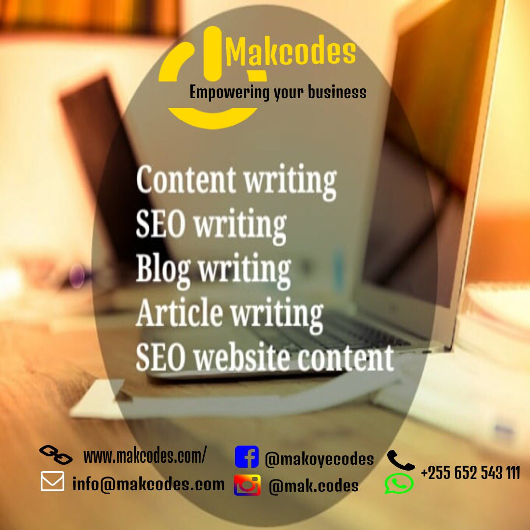 We proffesional online content writers for your website and more.    Email: info@makcodes.com  Call +255 652 543 111  #WebsiteDesign #SocialMediaMarketing #ITConsultant  #Branding #SearchEngineOptimization #ContentWriting #SocialMediaMagement