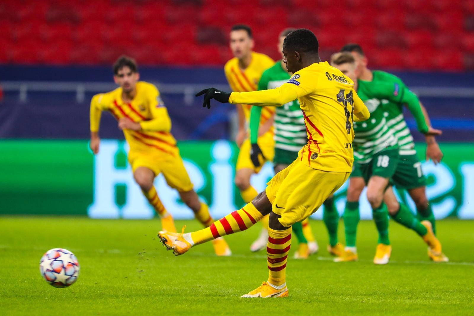 برشلونة يتفوق على فرينكفاروزي ويحقق الفوز الخامس له بدوري الأبطال