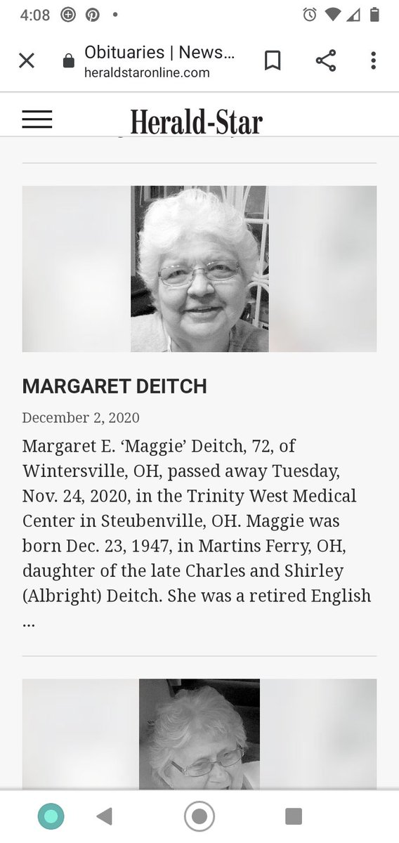 Dang Ms. Deitch. I'm really bummed. This woman got me into writing. She gave me hell but it made me better. I still suck with grammar but I never stopped being creative. #rip #englishteacher #love #steubenville #backhome