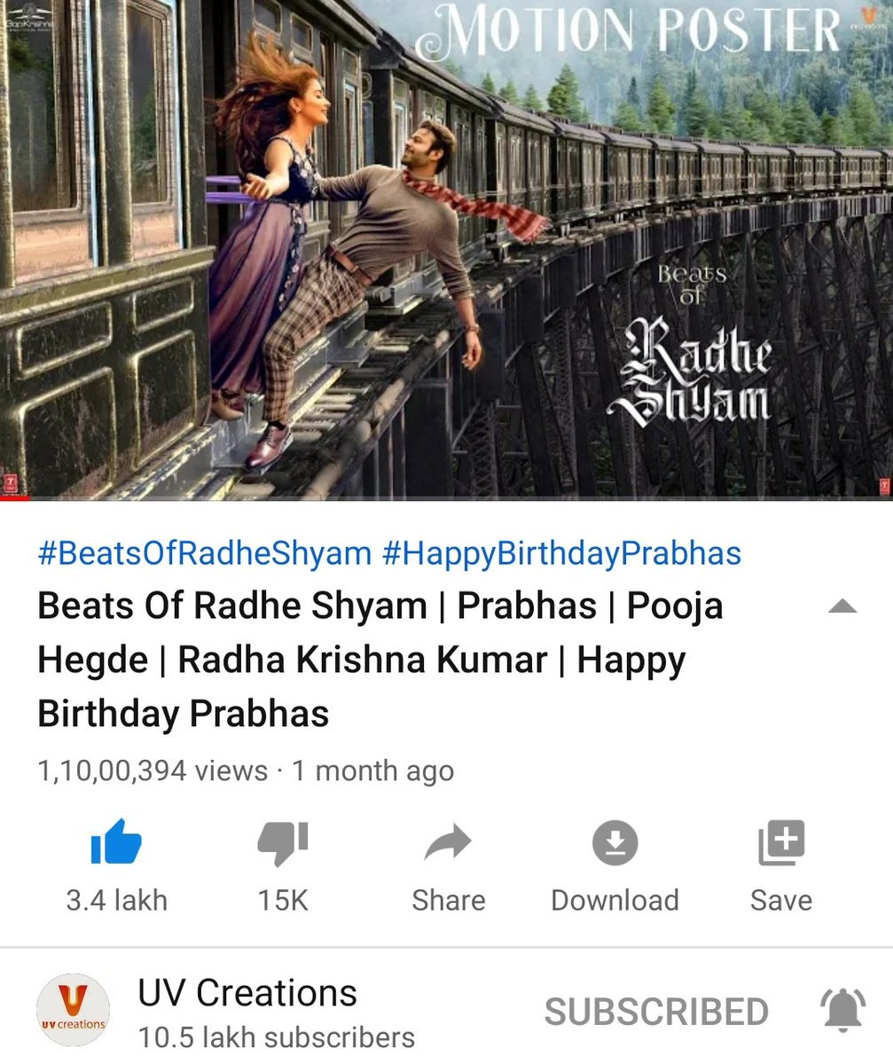 #RadheShyam Motion Poster Crossed 11M views 💥 Only 3rd Motion Poster in Indian cinema to Cross 11M after #Baahubali2 & #RRR !    #SALAAR