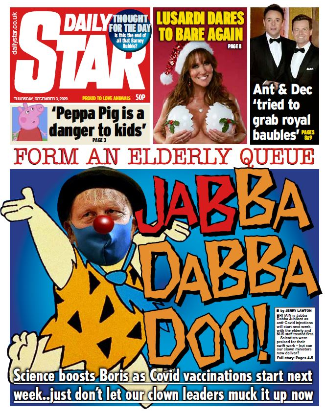 "Thursday's Star: ""Jabba dabba doo!"" #TomorrowsPapersToday #BBCPapers"