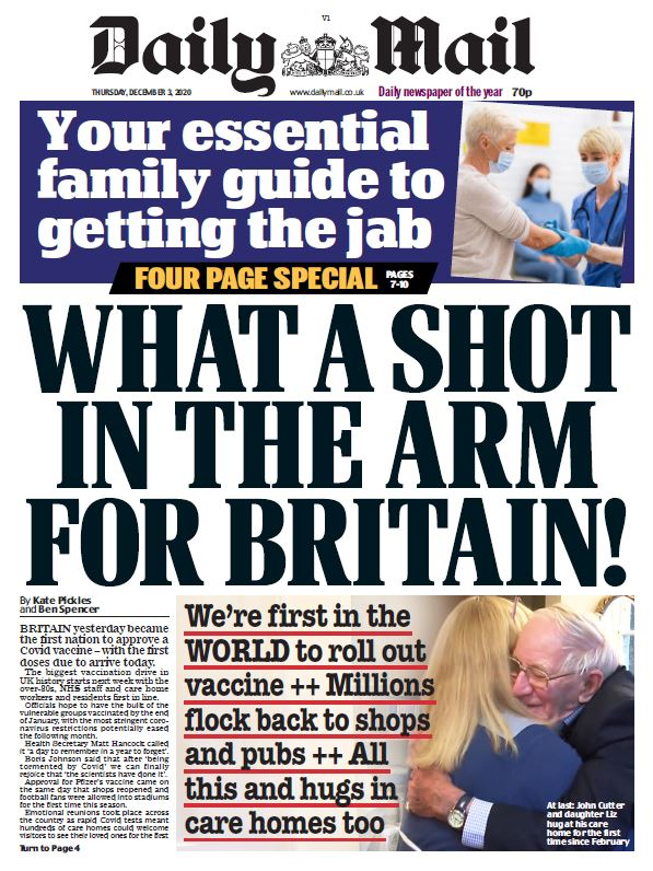 "Thursday's Mail: ""What a shot in the arm for Britain!"" #TomorrowsPapersToday #BBCPapers"