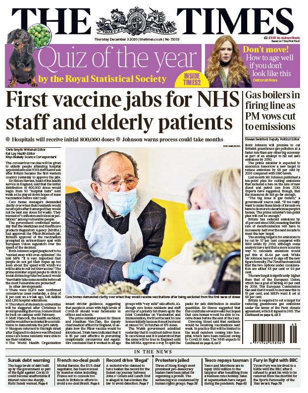 "Thursday's Times: ""First vaccine jabs for NHS staff and elderly patients"" #TomorrowsPapersToday #BBCPapers"