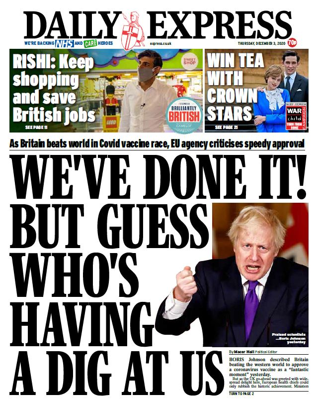 "Thursday's Express: ""We've done it! But guess who's having a dig at us"" #TomorrowsPapersToday #BBCPapers"