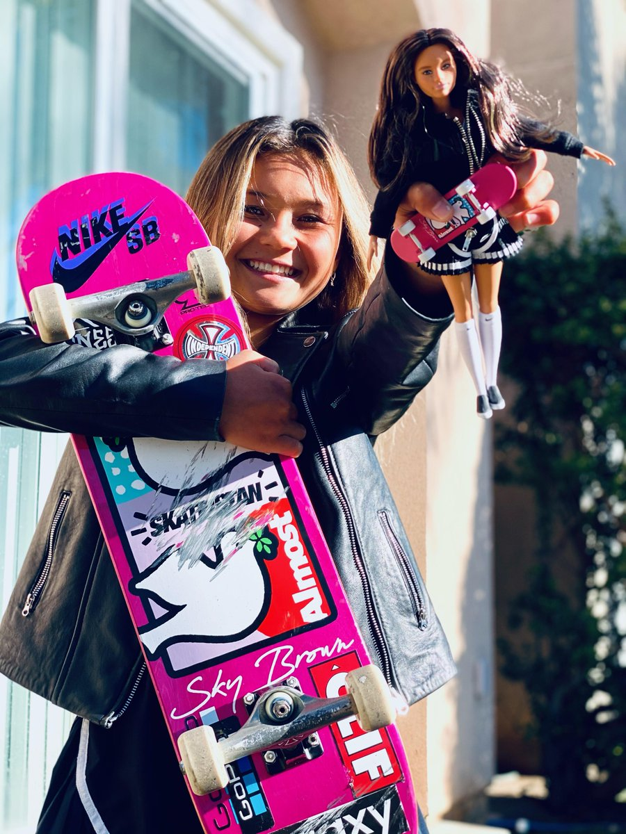 There are so many ways to follow your dreams – just ask skater, surfer and champion, #SkyBrown! 🛹 Barbie is proud to honor Sky as the youngest #Barbie Role Model. At 12 years old, she inspires girls and boys to break boundaries and go for the gold at any age. 🏅#YouCanBeAnything