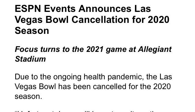 Las Vegas bowl has been canceled, which is no surprise. It had not been given a scheduled date and all signs pointed toward it not being played.