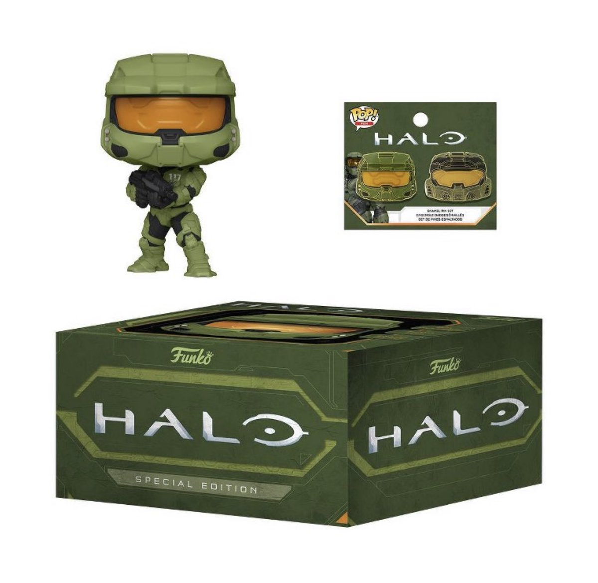 Available Now: Halo Special Edition Box! Comes with the common Master Chief and a pin set. .