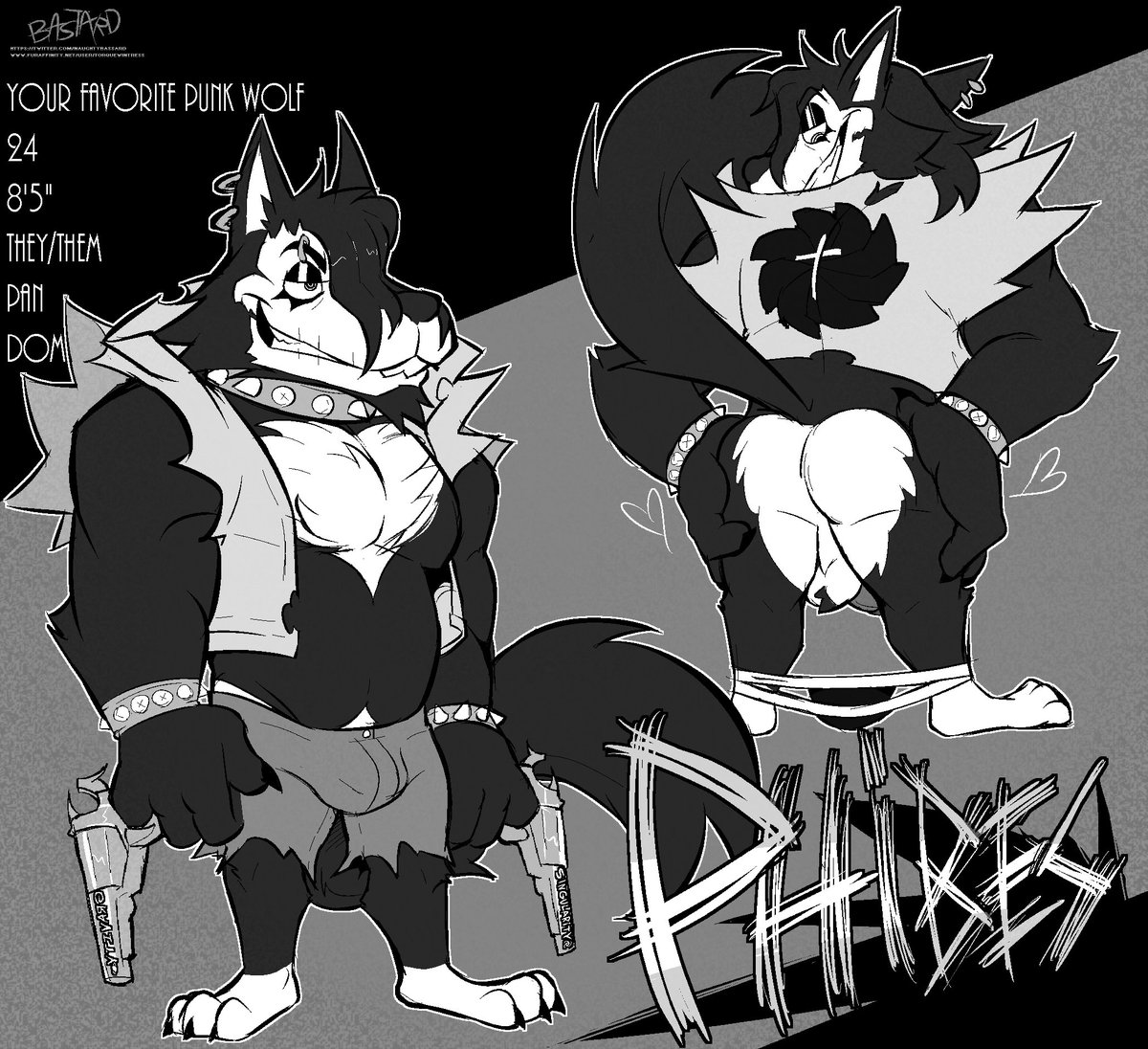 Its... me??? Meet Phibes! A horror-punk themed wolf and basically my second sona! Comm from my buddy @naughtybassard