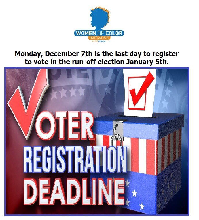 Georgia residents: voter registration for the runoff ends in FIVE days! #Jan5 #Vote