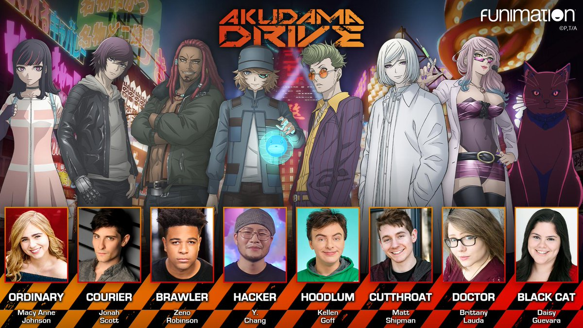 We've got a job for you. 💴  Check out @macyyyanne, @ImMrTransistor, @childishgamzeno, @YungiChang, @kellengoff, @MattShipmanVO, @BrittanyLaudaVO, @DaisyG_VA and more when the Akudama Drive dub premieres TOMORROW!  More cast and crew: https://t.co/DfDm63DCMP https://t.co/1lUINSzuYk