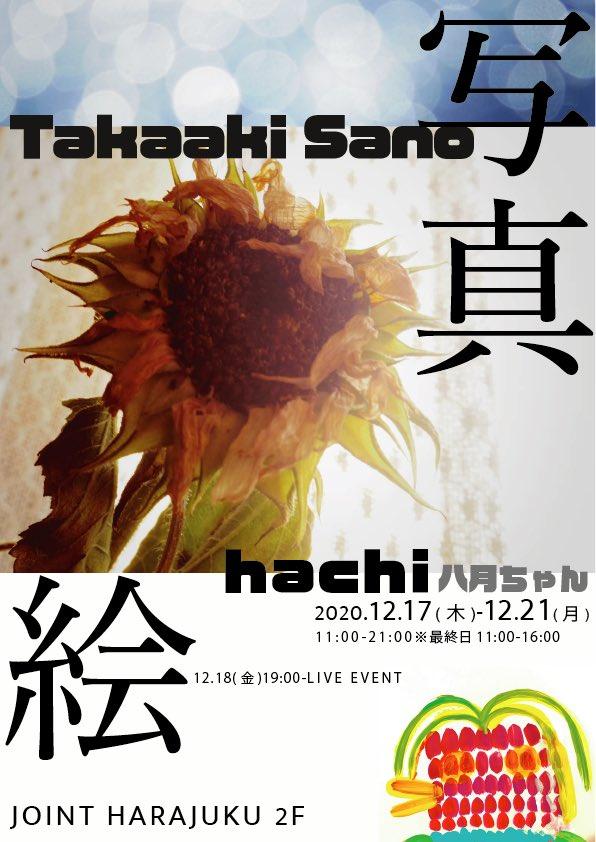 12/17(木)-21(月)はJOINT HarajukuにてTakaaki Sano × hachi(八月ちゃん)の写真と絵!📸🎨12/18(金)は19:00-オープニングイベントがあります!🎉オープニングイベントは予約が必要です🌟お待ちしてます!