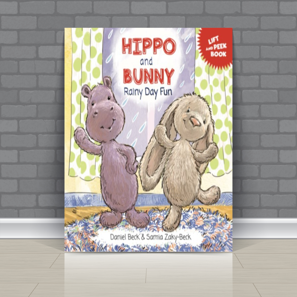 """Hippo and Bunny invite you to play along in this interactive Lift-and-Peek adventure. Read """"Hippo and Bunny Rainy Day Fun"""" now. #children #booksforkids #rainy #fun #hippo #bunny  available at Amazon -->"""
