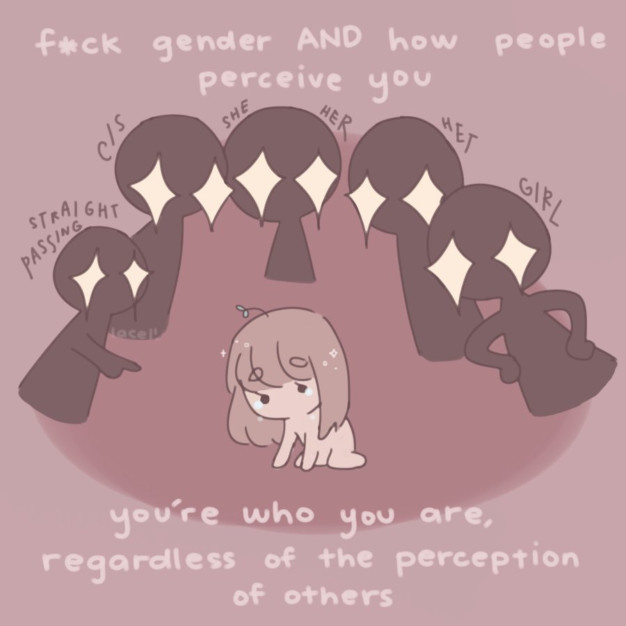 #VisibleNonbinary hi i'm jelly (they/them) and i like to draw cute pink things !! i made this comic based off of one of my best friend's response to my dysphoria ♡