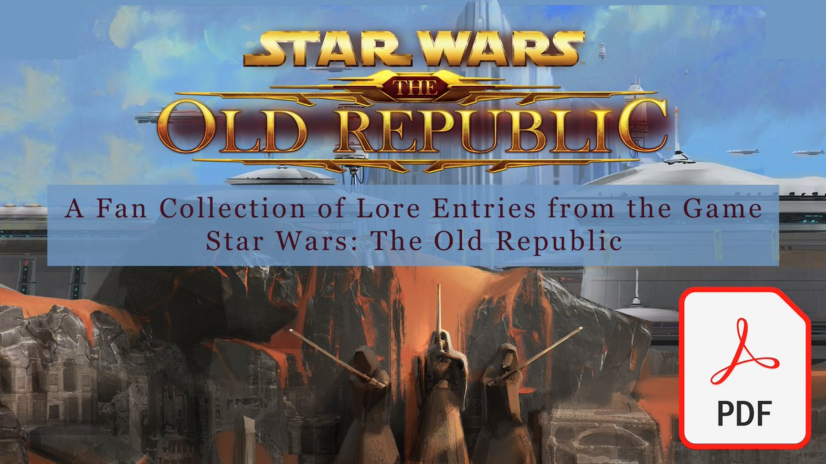 "Swtorista - Quite a few of you asked if the lore codex entries could be converted to a PDF. It was more difficult than I thought it would be but here you go, 1,400 pages of #SWTOR lore entries! Sorry no Table of Contents, but ""Find"" works. You can download it here:"