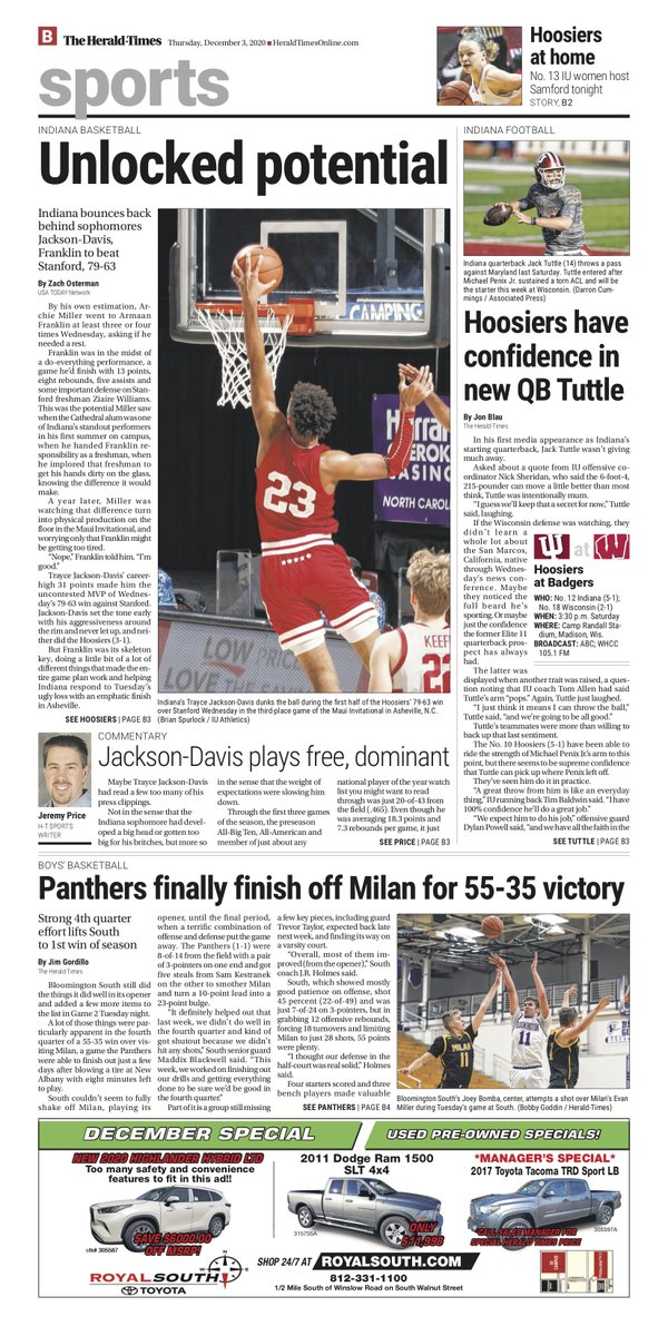 Sophomores Armaan Franklin & Trayce Jackson-Davis lift @IndianaMBB to 3rd in @MauiInv; @IndianaFootball confident in Jack Tuttle at QB; @BHSSBasketball nabs 1st win of the season; @IndianaWBB ready to return to the court and more in Thursday's @theheraldtimes. #iufb