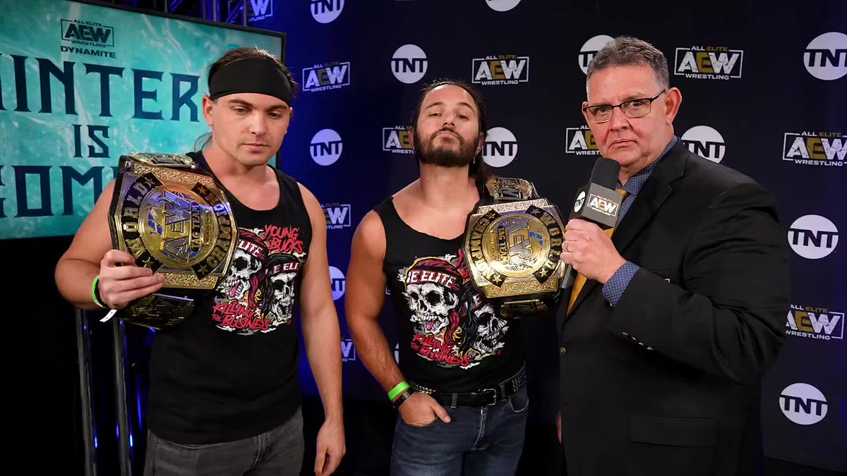 Next week on #AEWDynamite, The @youngbucks will face TH2 in a non-title match. But, ready to crash the party was The Acclaimed. Watch #AEWDynamite NOW on @TNTDrama