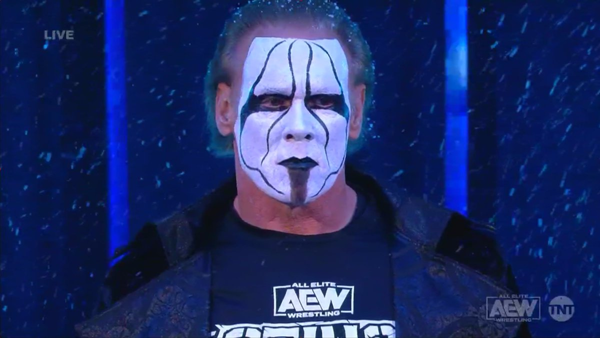 I thought #WinterIsComing?!? Turns out it was Sting. #AEWDynamite