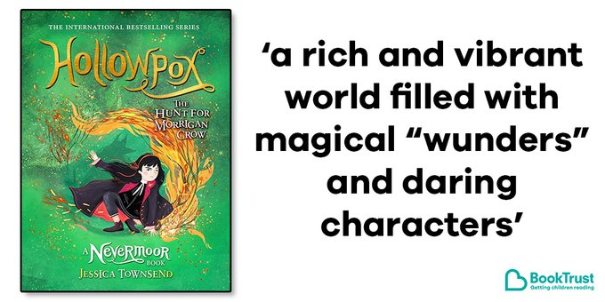 "The front cover of Hollowpox and a quote from our review: 'A rich and vibrant world filled with magical ""wunders"" and daring characters'"