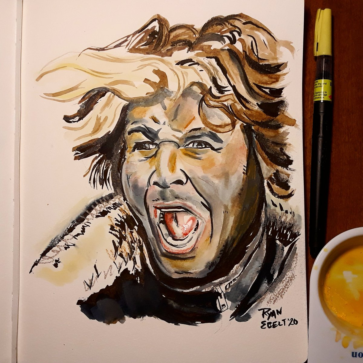 Remember him when you look into the night skies! Quick stream tribute to Aussie movie villain great Hugh Keays-Byrne! RIP! #art #drawing #ink #watercolor #mixedmedia #portrait #tribute #movies #actor #madmax #hughkeaysbyrne #ryanjebelt