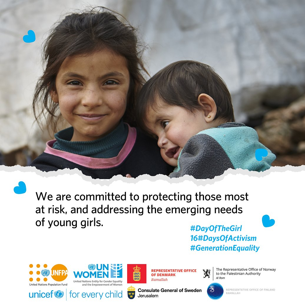 Share & RT if you believe girls should live in a world where they have the right to be: →Empowered →Creative →Educated →Protected #DayOfTheGirl #16DaysOfActivism  #GenerationEquality   @DKRepPAL   @NorwayPalestine @FinPalestine   @SwedeninJERU  @UN_Women @UNICEFpalestine