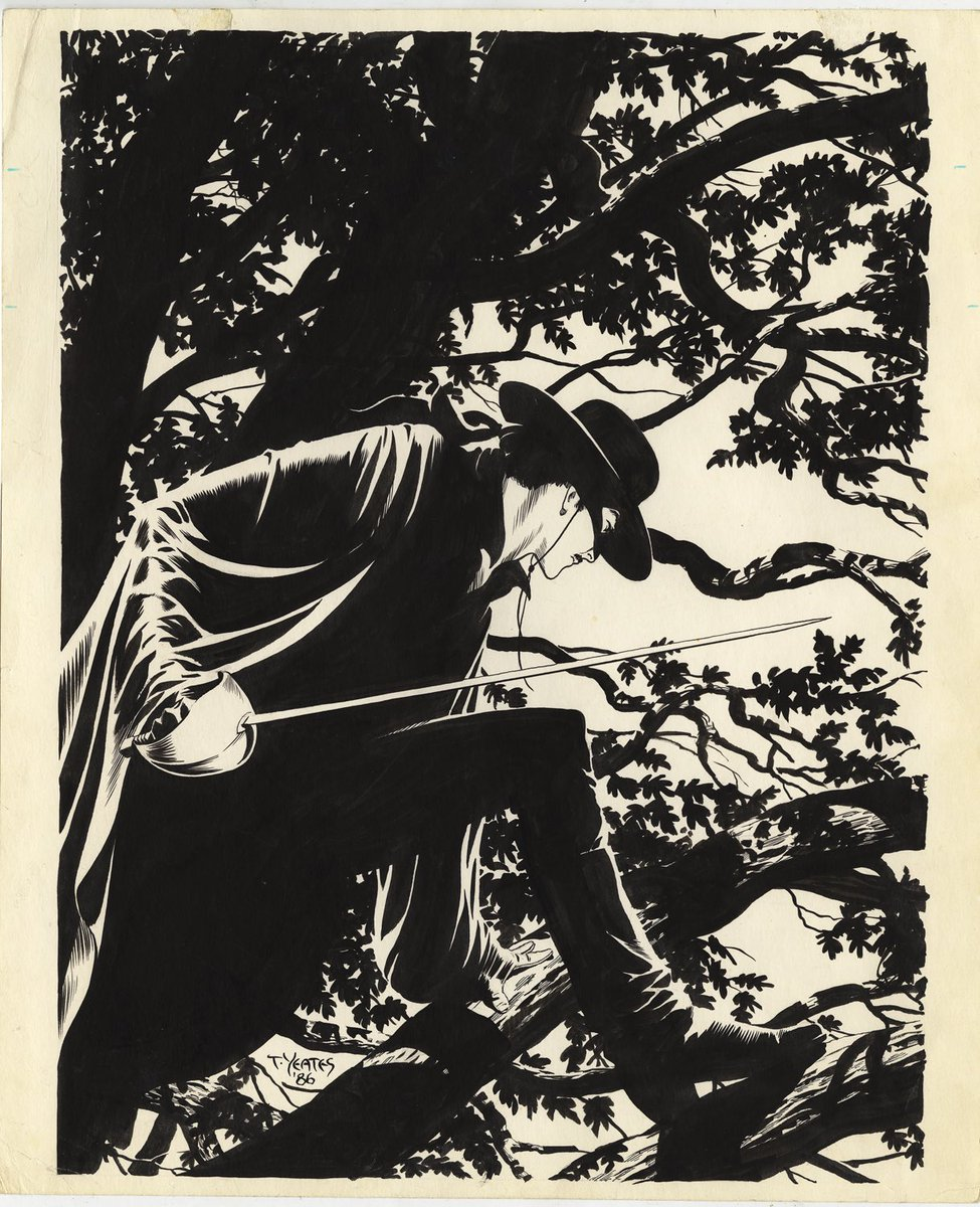 Zorro cover by Tom Yeates for a book of Toth stories. My favorite piece by Tom.