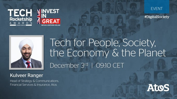 Atos' @KulveerRanger is speaking today at the @tradegovukFRA #TechRocketshipAwards,...