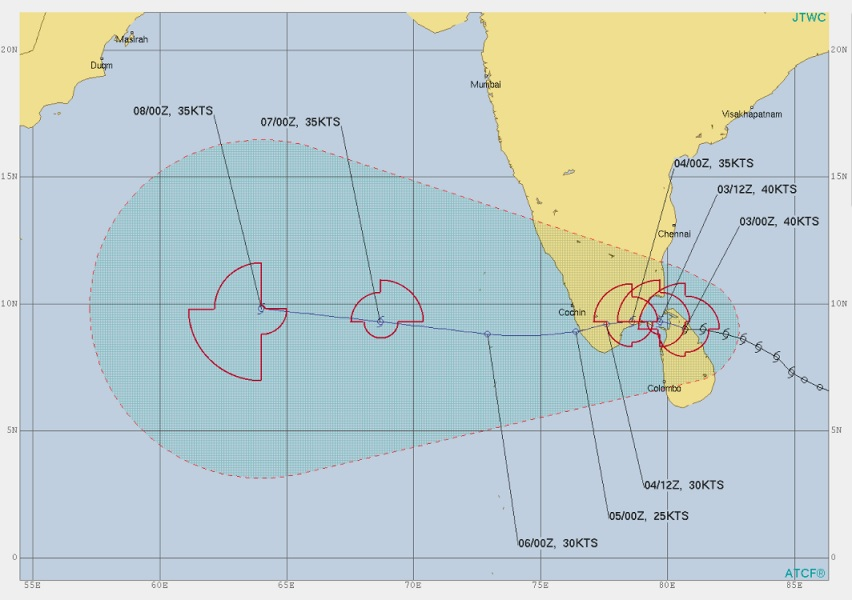 #CycloneAlert: #CycloneBurevi expected to make a landfall in south #TamilNadu today.  Coastal communities must take precautions and prepare for a Strong Tropical Cyclone within next 12 hrs. #BureviCyclone #Burevi