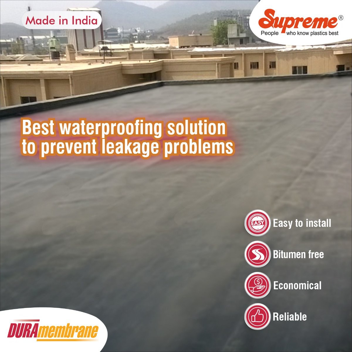 DURAmembrane - cost-effective solution for waterproofing of basements and roofs to prevent leakage problems. #Supremeindustries #DURA #DURAmembrane #waterproofingsolution
