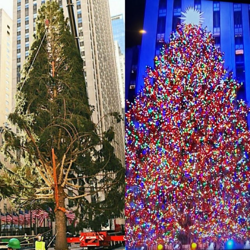 I think that tree is wearing more makeup than Dolly Parton tonight.  #RockCenterXMAS #rockefellerchristmastree