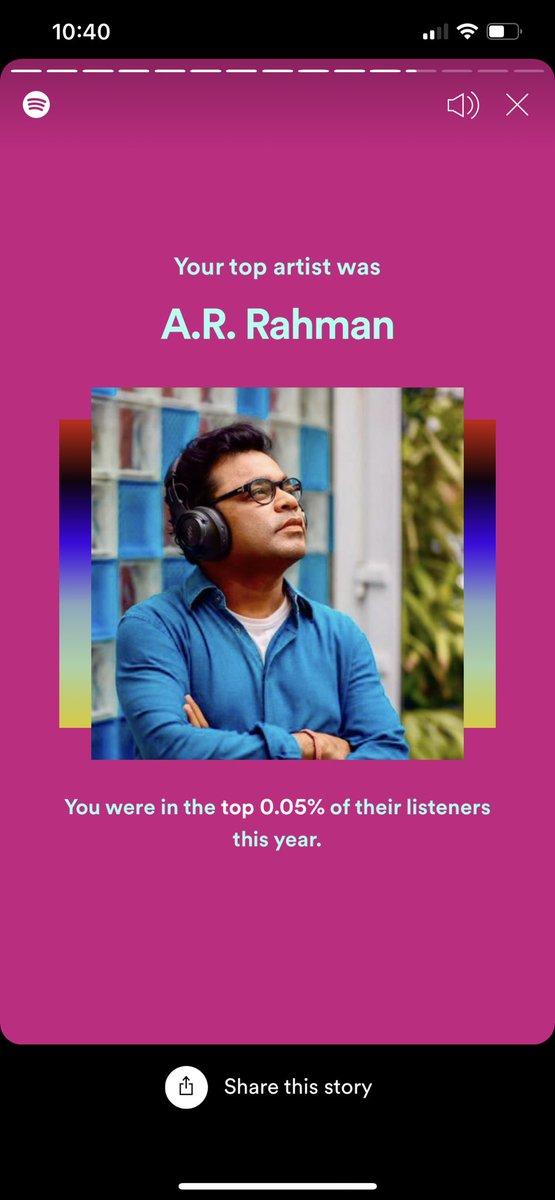 @arrahman Spotify tells me that I was among your top 0.05% listeners this year! My top 5 songs of this year are all yours, Sofia being my favorite! #99songs #Cobra