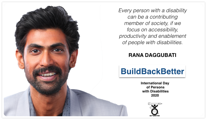 Today is #internationaldayofpeoplewithdisability. @ncpedp_india , @armanaly and the entire #DisabilityRights movement is #happy to share this message by @RanaDaggubati on this day.