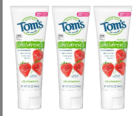 Tom's of Maine Anticavity Fluoride Children's Toothpaste, Kids Toothpaste, Natural Toothpaste, Silly Strawberry, 5.1 Ounce, 3-Pack  #Health  #gift card #Clothing  #Entertainment #service #AEWDynamite Westbrook Impact #USA